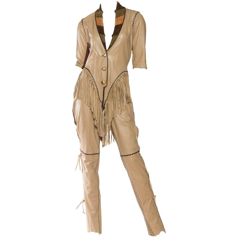 1970s Fringed Leather Jumpsuit