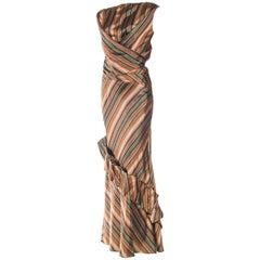 1990S KENZO Dark Green & Copper Striped Silk Blend Bias Cut Skirt Top 2 Piece G