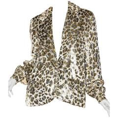 Gold Lurex Velvet Leopard Jacket Blouse by Bill Blass
