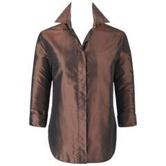 "ALEXANDER McQUEEN S/S 1997 ""La Poupee"" Brown Iridescent Silk Button Down Shirt"