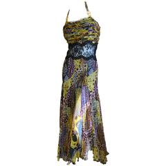 Versace Vintage 90's Snake Print Dress with Sheer Lace and Medusa Ornaments
