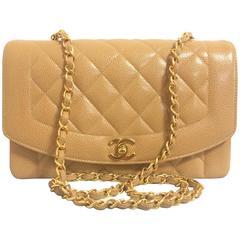 MINT. Vintage Chanel brown beige caviar leather 2.55 flap shoulder bag with cc.