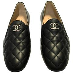 Chanel Shoes Size 37/7 Black Lambskin Like New Current