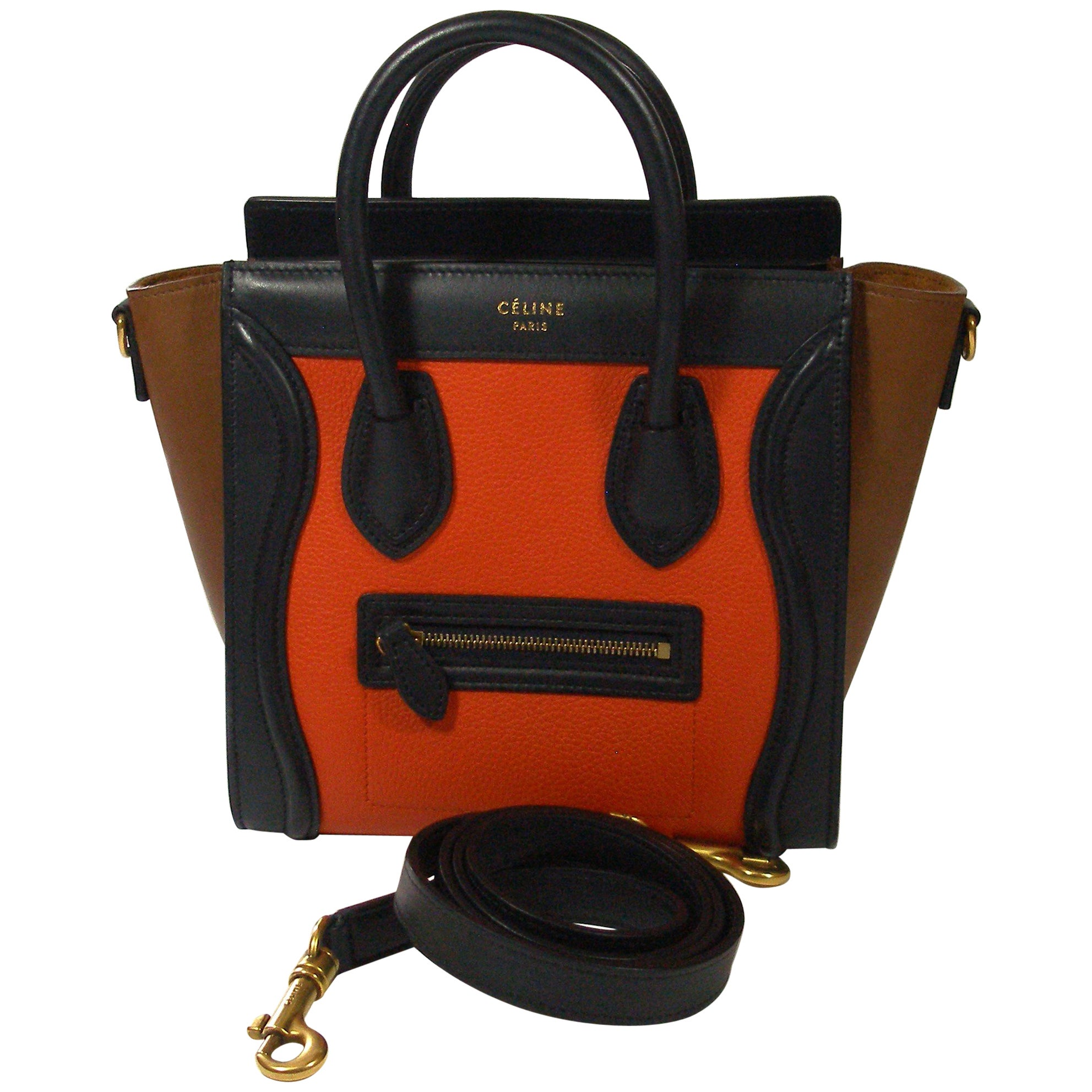 Céline Mini Luggage Multi Color Calfskin Leather Handle Bag Rare At 1stdibs
