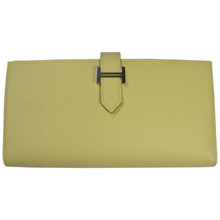 Hermès Béarn Soufflet Wallet epsom Leather Jaune Pouissin Palladium HW / NEW