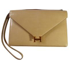 Hermès Vintage Lydies Clutch lézard créme / Rare in this color ...Great deal !