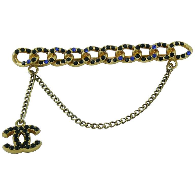 Chanel Jewelled Chain Brooch CC Charm Fall 2001 1