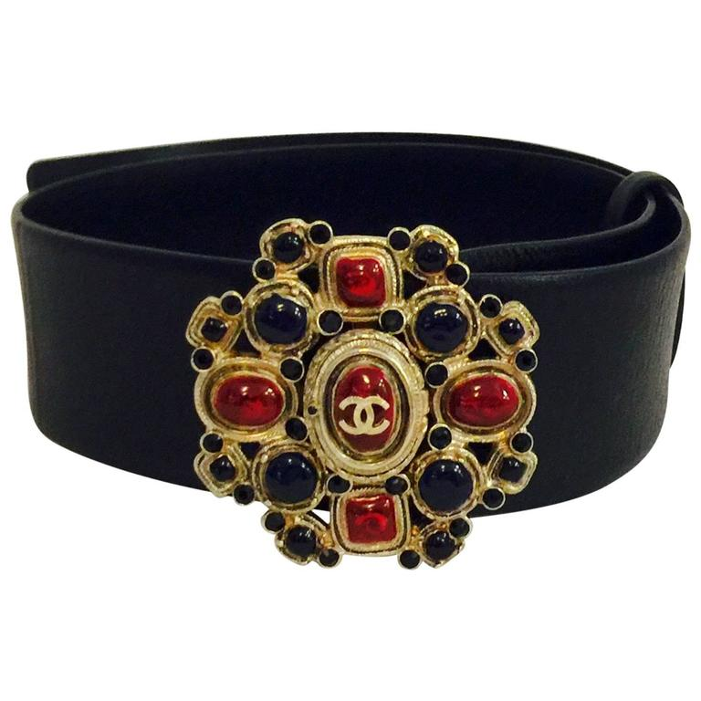 iconic Chanel Black Leather Belt With Black, Red and Blue Gripoix Buckle For Sale