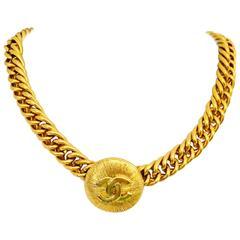Iconic Coco Chanel Gold Tone Medallion Choker