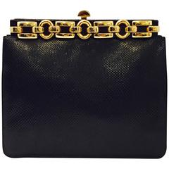 Judith Leiber Framed Black Lizard Bag with Large Chain Decoration