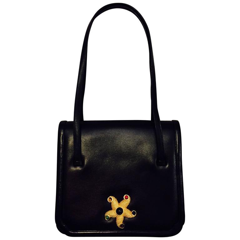 Judith Leiber's Beautiful Starfish Black Leather Bag with Two Top Handles