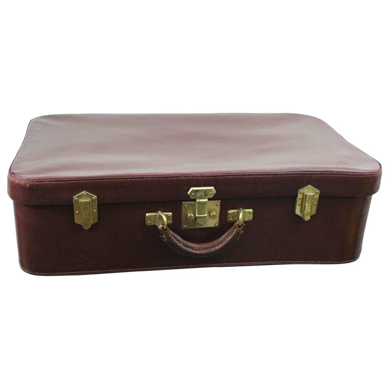 Hermes Vintage Burgundy  Box Leather Suitcase Trunk. Fair condition
