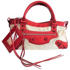 Balenciaga First Shoulder Bag in Jute and Red Leather inserts