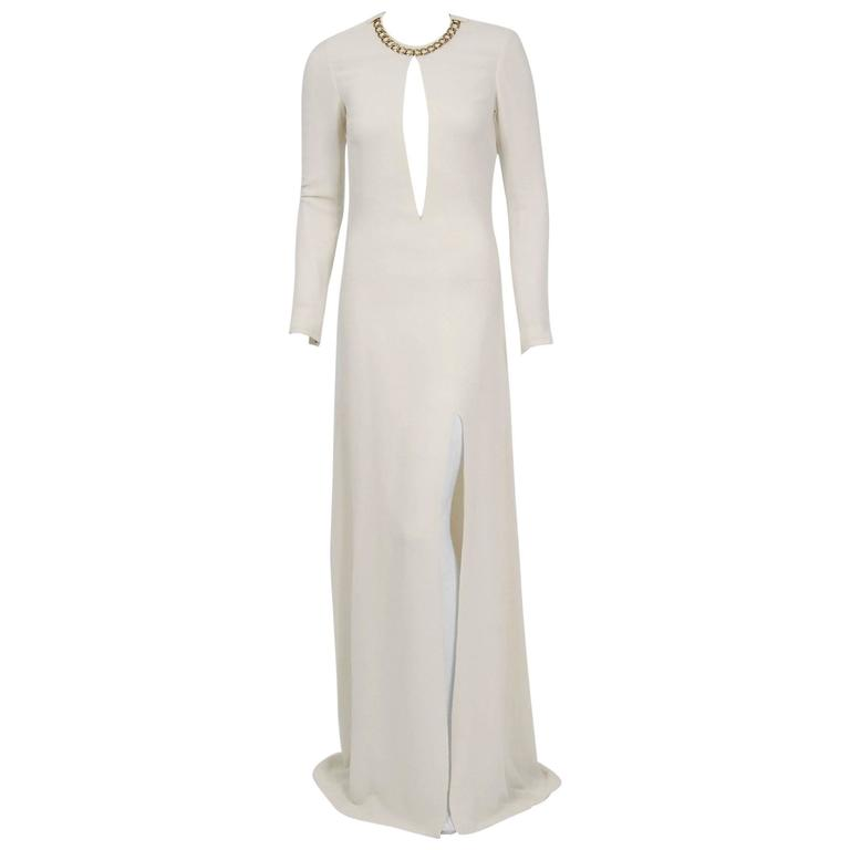 2006 Alexander McQueen White Silk Crepe Chain Plunge High-Slit Hourglass Gown