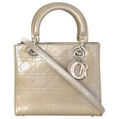 Christian Dior Beige Patent Leather Medium Lady Dior Bag w/ Strap