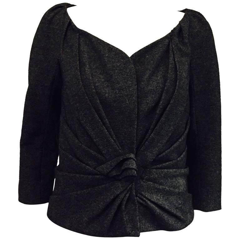 Characteristic Christian Dior Wool Cropped Jacket in Tiny Black/Grey Checks