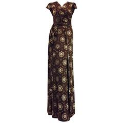 Everlasting Emilio Pucci Vintage Two Piece Silk Set in Brown and Beige Print.