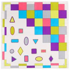 EMILIO PUCCI c.1970's White Multicolor Geometric Signature Print 100% Silk Scarf