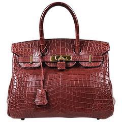 """Hermes Crocodile Niloticus Matte Rouge H Red """"Birkin 30"""" Satchel Bag"""