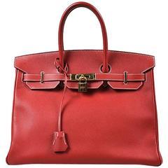 """Hermes Rouge Casaque Red Epsom Leather """"Birkin 35"""" Satchel Bag"""