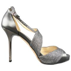 JIMMY CHOO Size 6 Silver Metallic Fabric & Leather Tyne Platform Sandals