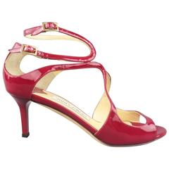 JIMMY CHOO Size 6 Burgundy Red Patent Leather Lang Strappy Sandals