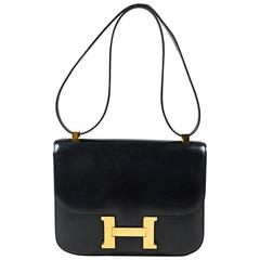 "Vintage Hermes Black & Gold Tone Box Calf Leather 'H' ""Constance"" Flap Bag"