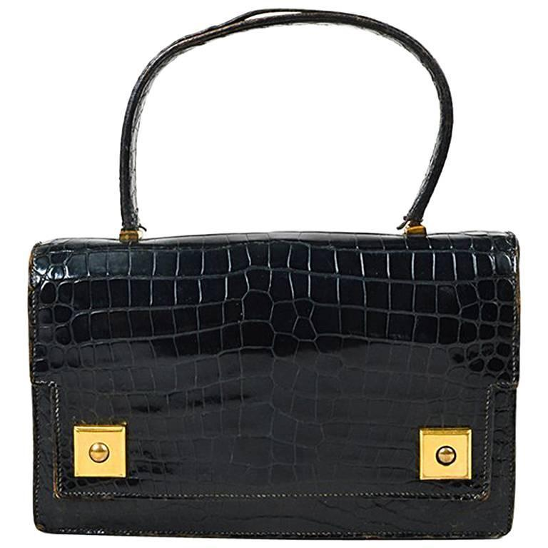 ... sale vintage hermes black crocodile leather piano flap satchel bag 1  d630b a0147 3d8c5301c1