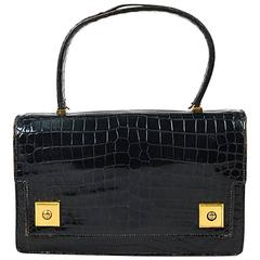"Vintage Hermes Black Crocodile Leather ""Piano"" Flap Satchel Bag"