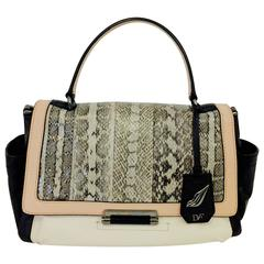Dynamic Diane von Furstenberg Trendy Multi Leather Beige/Black/Brown Bag