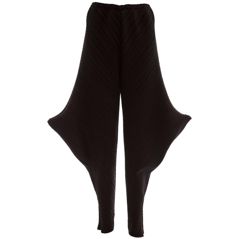 Issey Miyake Black Plissé Polyester Pants Side Structured Details, Circa 1990s