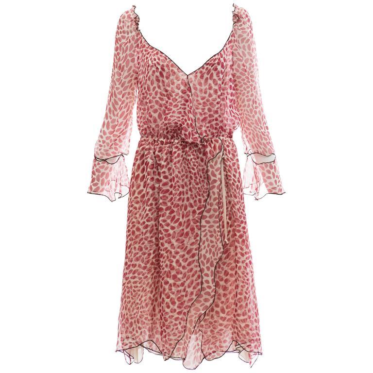 Tom Ford For Yves Saint Laurent Silk Chiffon Lip Print Wrap Dress, Spring 2004 For Sale