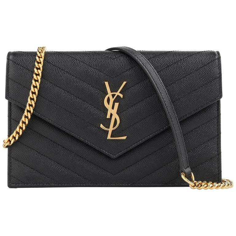 Saint Lau A W 2017 Ysl Black Monogram Envelope Chain Wallet Clutch Purse