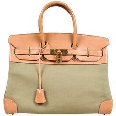 "Hermes Tan & Khaki Chamonix Leather & Canvas Top Handle ""Birkin"" 35 CM Satchel"