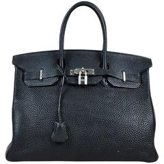 "Hermes Black Togo Leather Top Handle ""Birkin"" 35 CM Satchel"