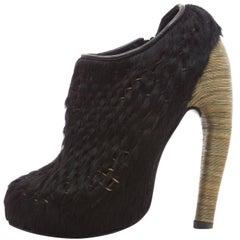 Iris Van Herpen Black Woven Pony Bronze Snake Chain Heel Ankle Boots, Fall 2014