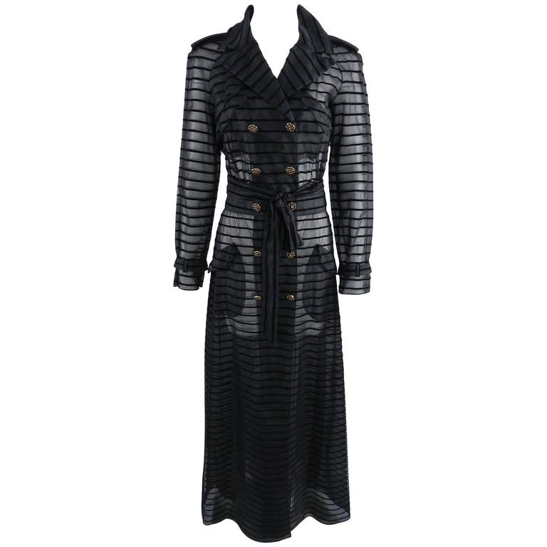 Chanel 10c Long Black Sheer Striped Evening Trench Coat Dress 1