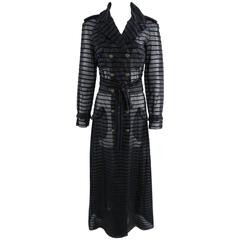 Chanel 10c Long Black Sheer Striped Evening Trench Coat Dress
