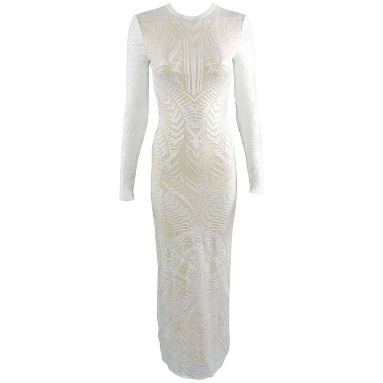 Balmain Long White Lace Stretch Dress with Nude Lining 1