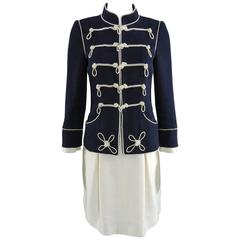 Chanel 09P Limited Edition Military Pearl Beaded Jacket and Skirt Suit
