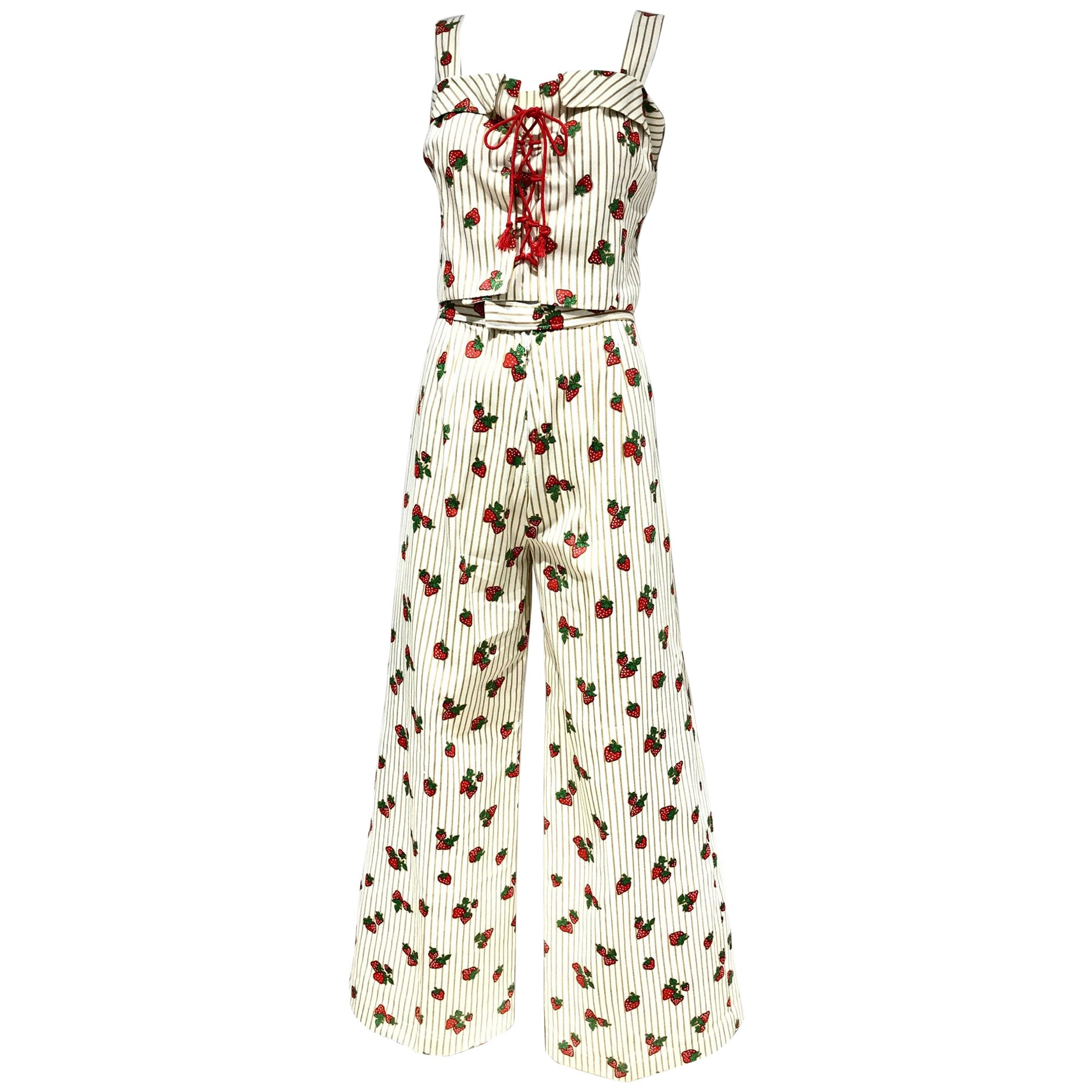 Vintage 1970s Strawberry Print Cotton Crop Top Bustier and Pant Set