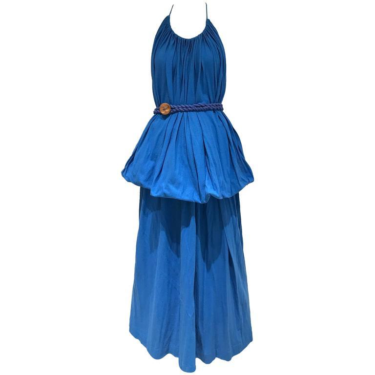 Vintage Missoni blue cotton knit halter maxi dress
