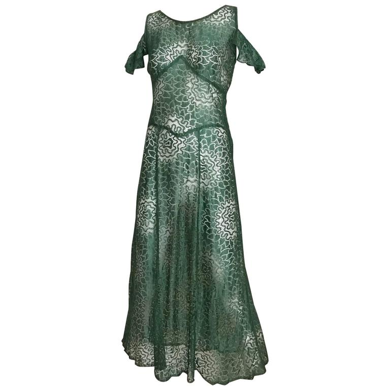 1930s Green Cut Out Lace Flutter Sleeves 30s Cocktail Dress
