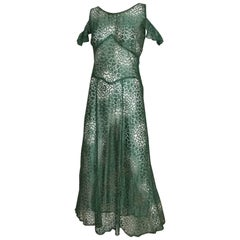 1930s Green Lace Summer Dress