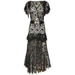 Bautiful 1930s Black Lace Floral Pattern Cocktail Gown with Rhinestones Belt