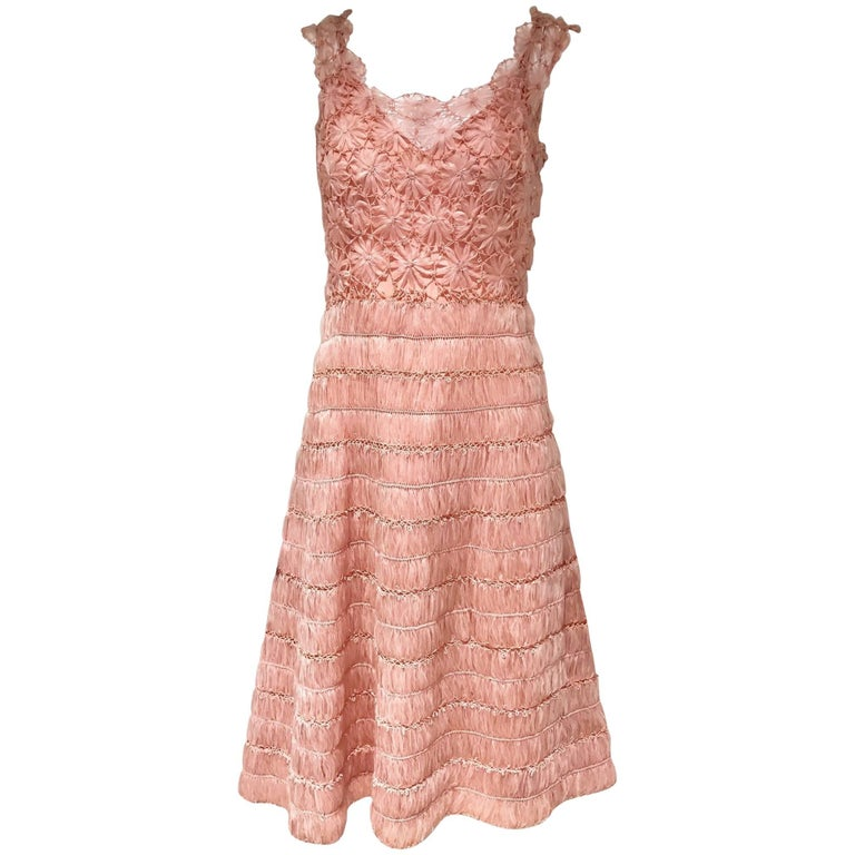 1950s PInk Woven Raffia Cocktail Dress