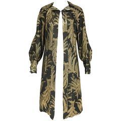 1970s Pauline Trigere vintage black and gold  silk brocade coat