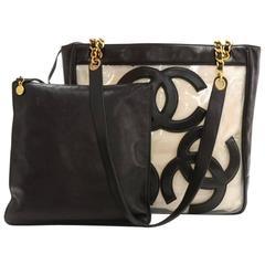 Chanel Triple CC Black Leather x Clear Vinyl Medium Shoulder Tote Bag