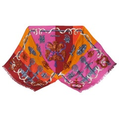 Stunning Hermes Long Scarf Shawl Ferronnerie Cathy Latham Cashmere Silk