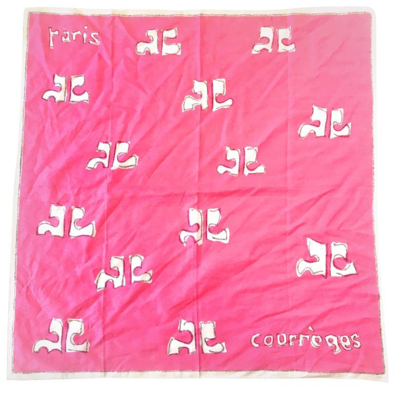 Vintage Courreges Scarf - Pink - 100% Cotton